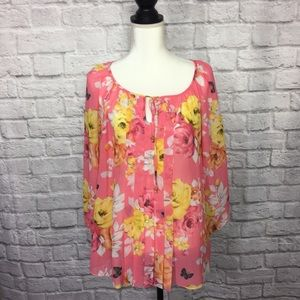 Charter Club Sheer Floral Peasant Style Blouse XL